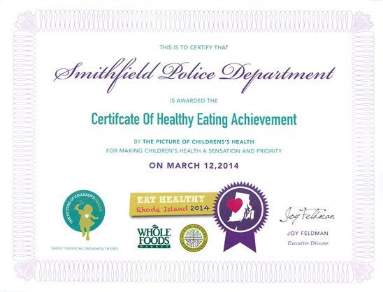 Certificate of Healthy Eating Achievement