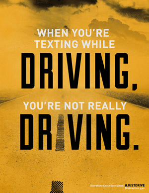Distractions Cause Destruction. ‪#‎justdrive