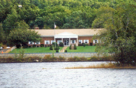 Smithfield PD Headquarters viewed from across Stump Pond.