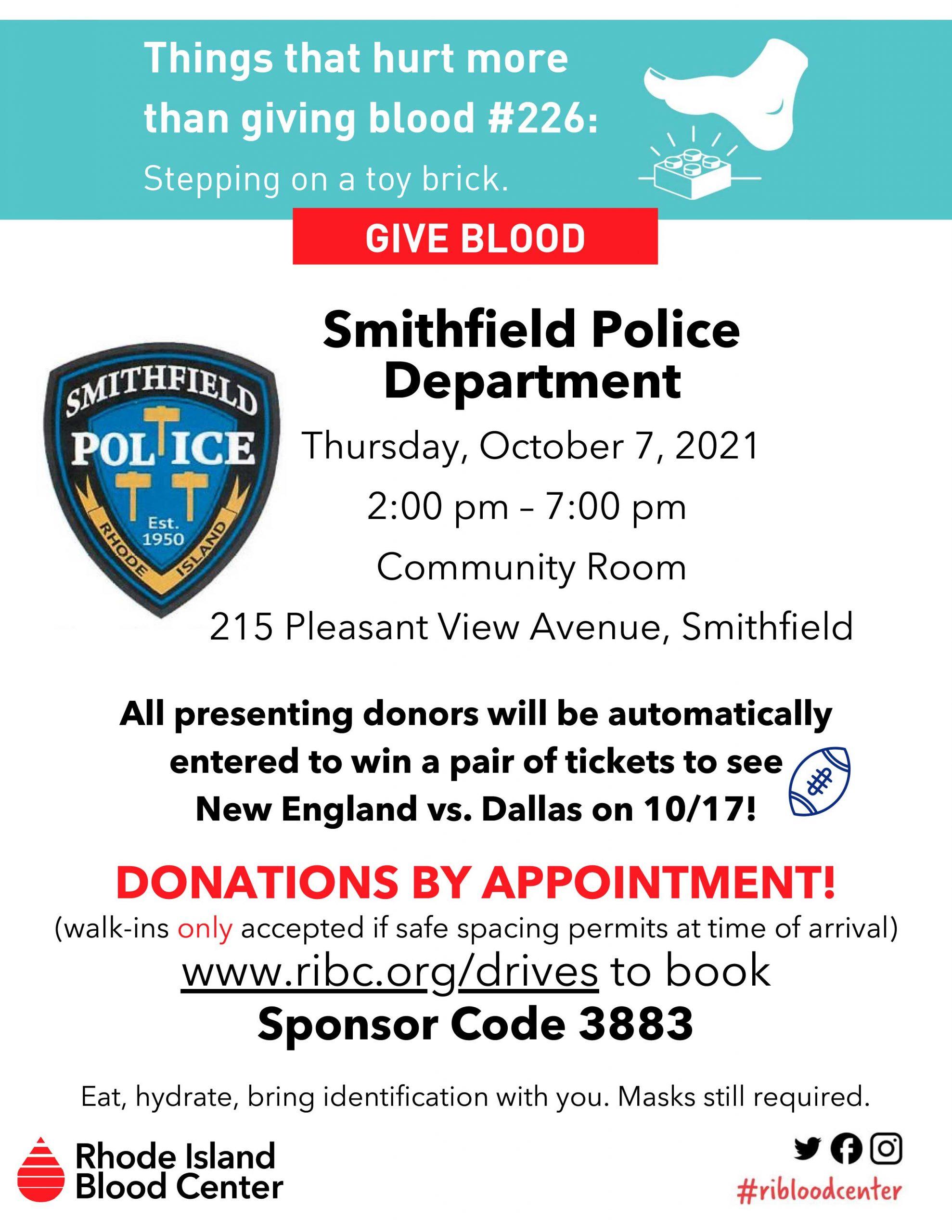 SPD Blood Drive - Thursday, October 7, 2021